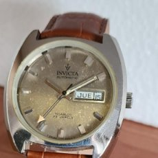 Relojes: RELOJ CABALLERO (VINTAGE) INVICTA AUTOMÁTICO EN ACERO CON DOBLE CALENDARIO, CORREA CUERO MARRÓN.. Lote 243585740