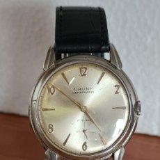 Relojes: RELOJ CABALLERO (VINTAGE) CAUNY CENTENARIO DE ACERO, DE CUERDA MANUAL 17 RUBÍES, CORREA CUERO NEGRA.. Lote 243590455
