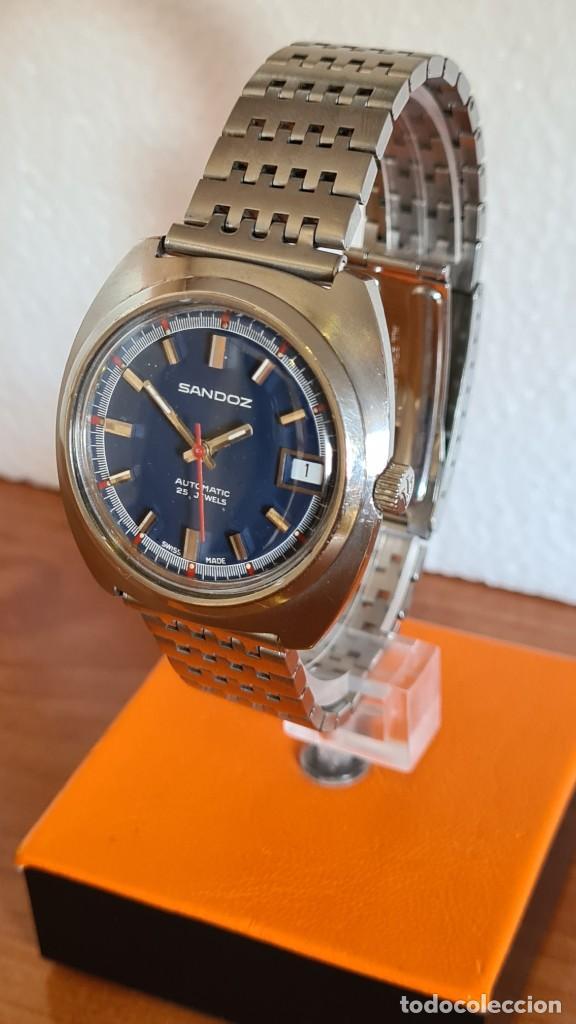 Relojes: Reloj caballero (Vintage) SANDOZ automático en acero con calendario a las tres, correa de acero. - Foto 2 - 243617175