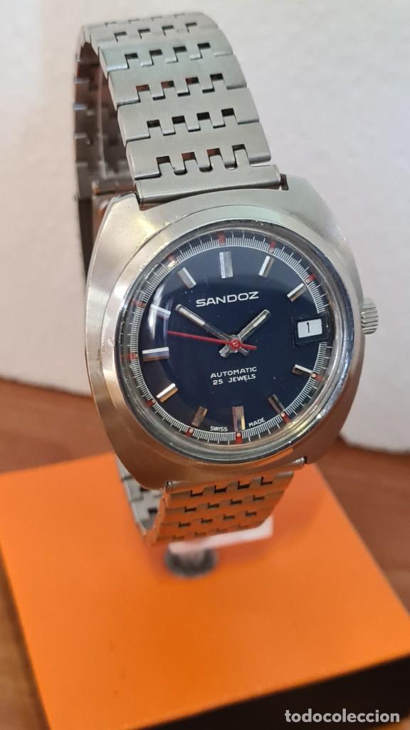 Relojes: Reloj caballero (Vintage) SANDOZ automático en acero con calendario a las tres, correa de acero. - Foto 3 - 243617175
