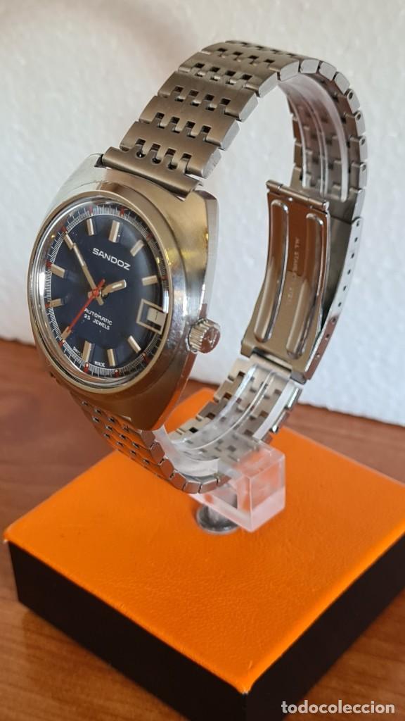 Relojes: Reloj caballero (Vintage) SANDOZ automático en acero con calendario a las tres, correa de acero. - Foto 4 - 243617175