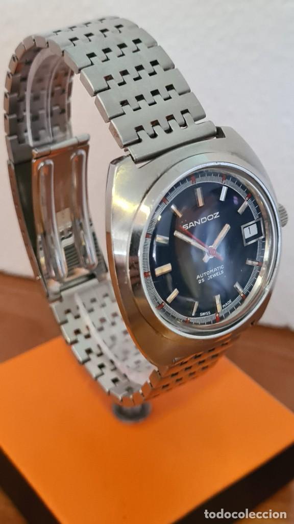 Relojes: Reloj caballero (Vintage) SANDOZ automático en acero con calendario a las tres, correa de acero. - Foto 5 - 243617175