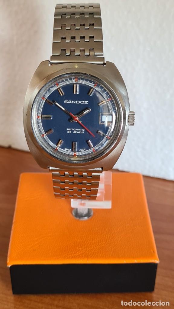 Relojes: Reloj caballero (Vintage) SANDOZ automático en acero con calendario a las tres, correa de acero. - Foto 7 - 243617175