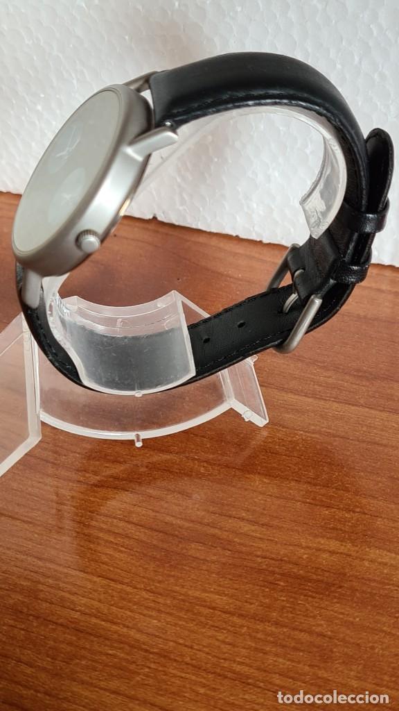 Relojes: Reloj unisex cuarzo GRUS acero, esfera en gris, con dos subesferas negras, correa cuero negra nueva. - Foto 4 - 243624500