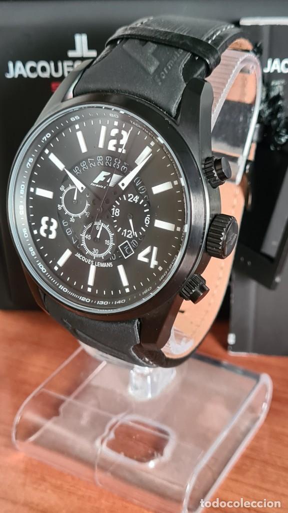 Relojes: Reloj caballero cuarzo JACQUES LEMANS. Fórmula 1, esfera negra, caja acero negra, su caja y garantía - Foto 2 - 244669165