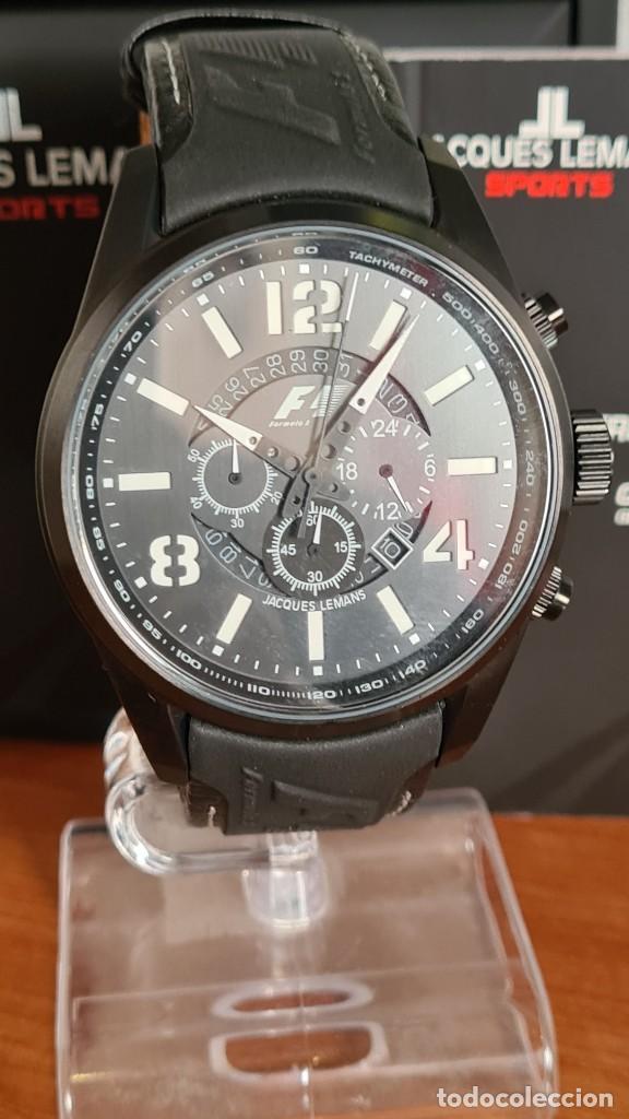 Relojes: Reloj caballero cuarzo JACQUES LEMANS. Fórmula 1, esfera negra, caja acero negra, su caja y garantía - Foto 3 - 244669165