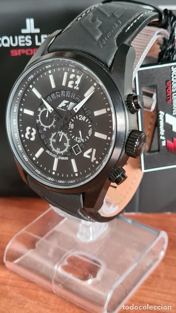 Relojes: Reloj caballero cuarzo JACQUES LEMANS. Fórmula 1, esfera negra, caja acero negra, su caja y garantía - Foto 4 - 244669165