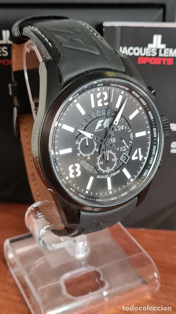 Relojes: Reloj caballero cuarzo JACQUES LEMANS. Fórmula 1, esfera negra, caja acero negra, su caja y garantía - Foto 5 - 244669165