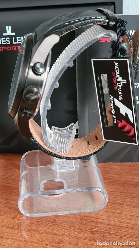Relojes: Reloj caballero cuarzo JACQUES LEMANS. Fórmula 1, esfera negra, caja acero negra, su caja y garantía - Foto 6 - 244669165