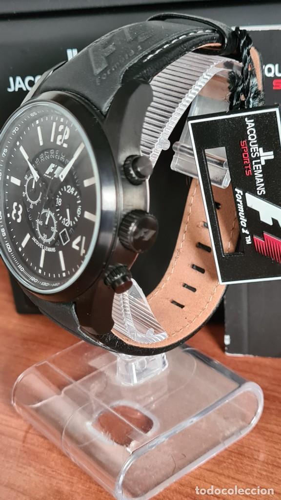 Relojes: Reloj caballero cuarzo JACQUES LEMANS. Fórmula 1, esfera negra, caja acero negra, su caja y garantía - Foto 8 - 244669165