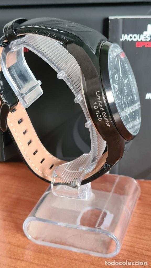 Relojes: Reloj caballero cuarzo JACQUES LEMANS. Fórmula 1, esfera negra, caja acero negra, su caja y garantía - Foto 9 - 244669165