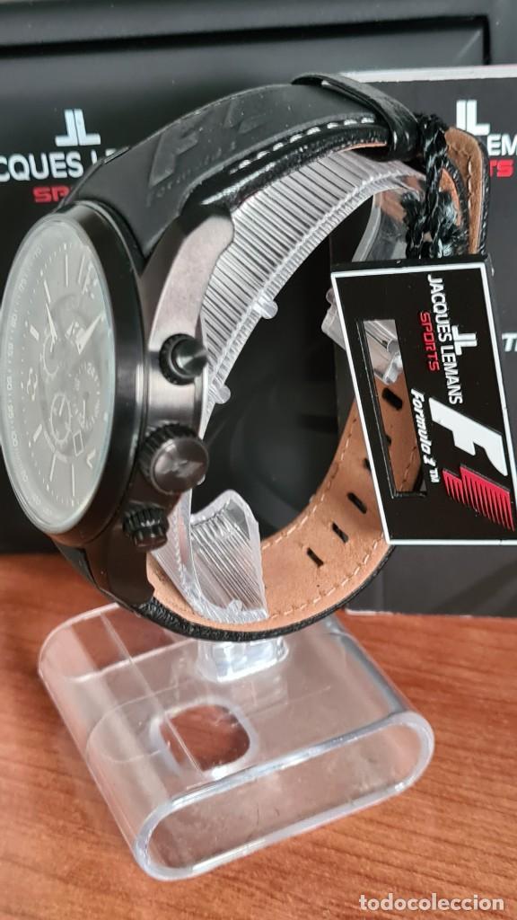 Relojes: Reloj caballero cuarzo JACQUES LEMANS. Fórmula 1, esfera negra, caja acero negra, su caja y garantía - Foto 10 - 244669165