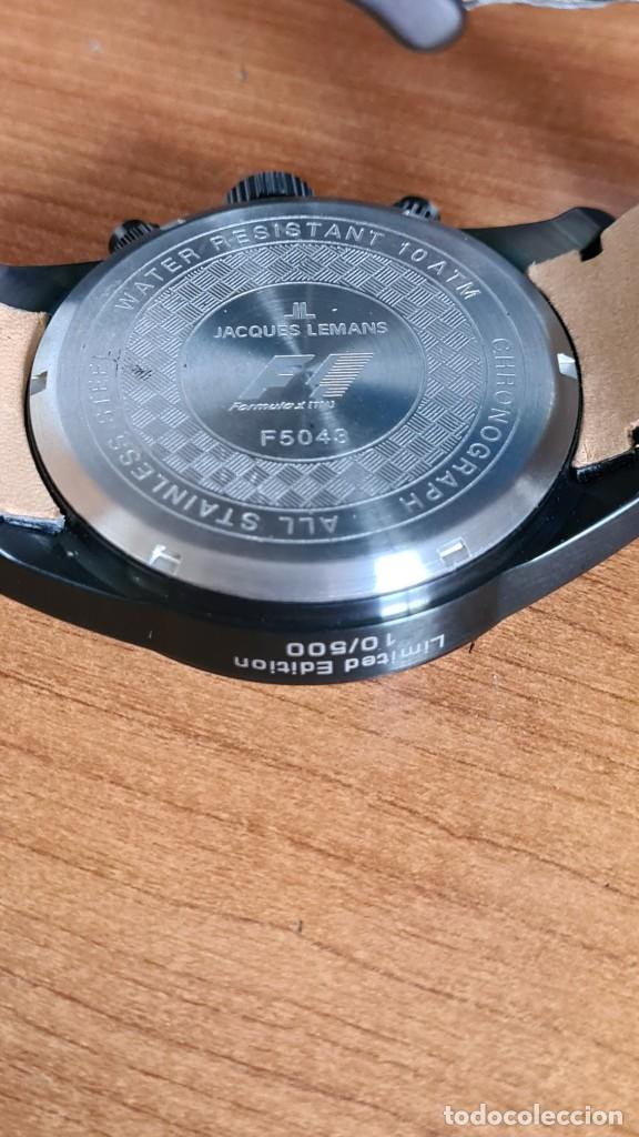 Relojes: Reloj caballero cuarzo JACQUES LEMANS. Fórmula 1, esfera negra, caja acero negra, su caja y garantía - Foto 11 - 244669165