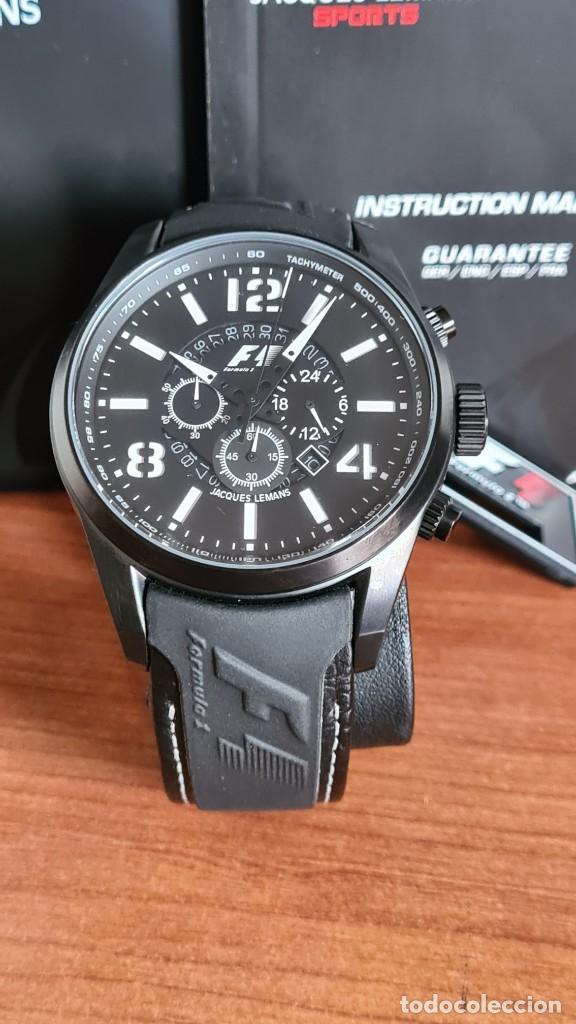 Relojes: Reloj caballero cuarzo JACQUES LEMANS. Fórmula 1, esfera negra, caja acero negra, su caja y garantía - Foto 14 - 244669165