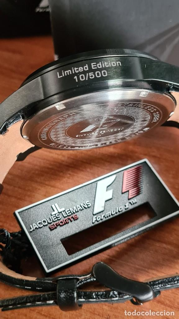 Relojes: Reloj caballero cuarzo JACQUES LEMANS. Fórmula 1, esfera negra, caja acero negra, su caja y garantía - Foto 15 - 244669165