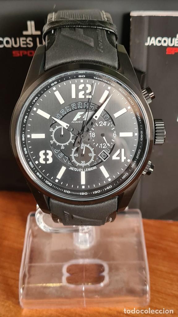 Relojes: Reloj caballero cuarzo JACQUES LEMANS. Fórmula 1, esfera negra, caja acero negra, su caja y garantía - Foto 16 - 244669165