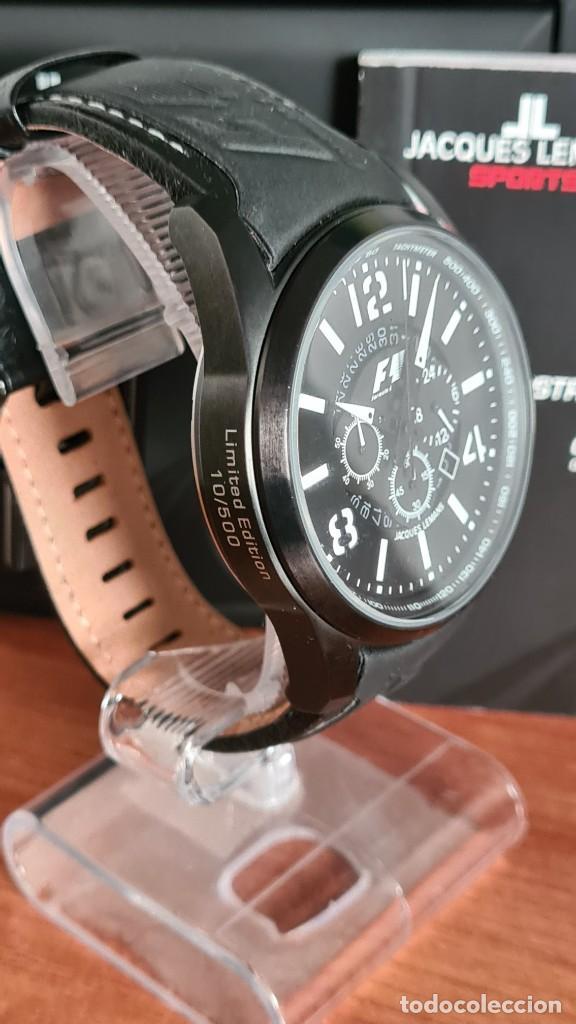 Relojes: Reloj caballero cuarzo JACQUES LEMANS. Fórmula 1, esfera negra, caja acero negra, su caja y garantía - Foto 20 - 244669165