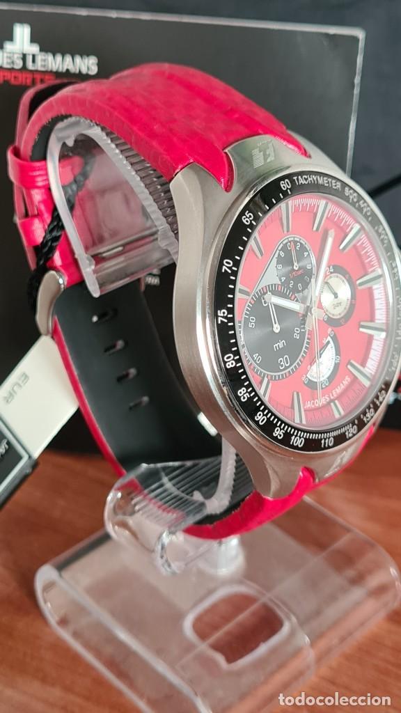Relojes: Reloj caballero cuarzo JACQUES LEMANS. Fórmula 1, caja acero, bisel con taquímetro, esfera vino. - Foto 5 - 244684660