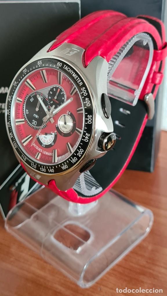 Relojes: Reloj caballero cuarzo JACQUES LEMANS. Fórmula 1, caja acero, bisel con taquímetro, esfera vino. - Foto 12 - 244684660