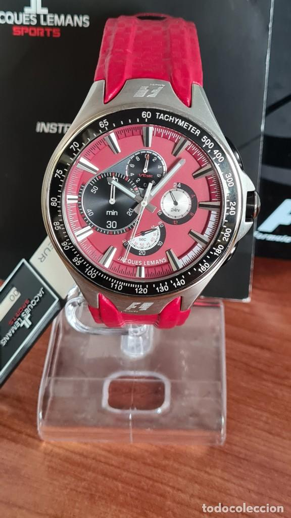 Relojes: Reloj caballero cuarzo JACQUES LEMANS. Fórmula 1, caja acero, bisel con taquímetro, esfera vino. - Foto 18 - 244684660