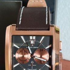 Relojes: RELOJ CABALLERO CUARZO JACQUES LEMANS. F1, CAJA ACERO CHAPADO ROSA, ESFERA NEGRA CON CRONOGRAFO.. Lote 244689475
