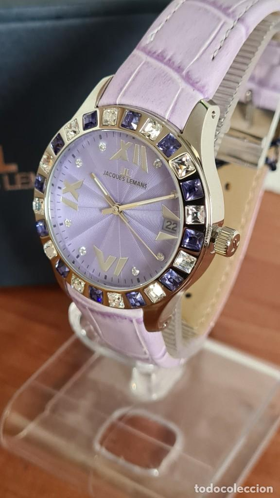 Relojes: Reloj unisex cuarzo JACQUES LEMANS. F1, caja acero con bisel piedras Swarovsky originales correa, - Foto 2 - 244692880