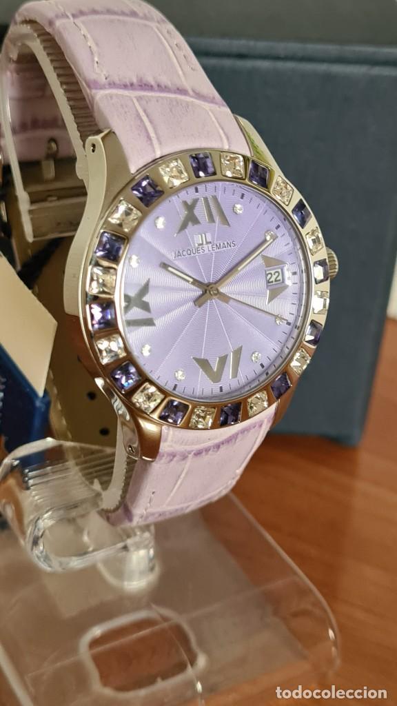 Relojes: Reloj unisex cuarzo JACQUES LEMANS. F1, caja acero con bisel piedras Swarovsky originales correa, - Foto 3 - 244692880