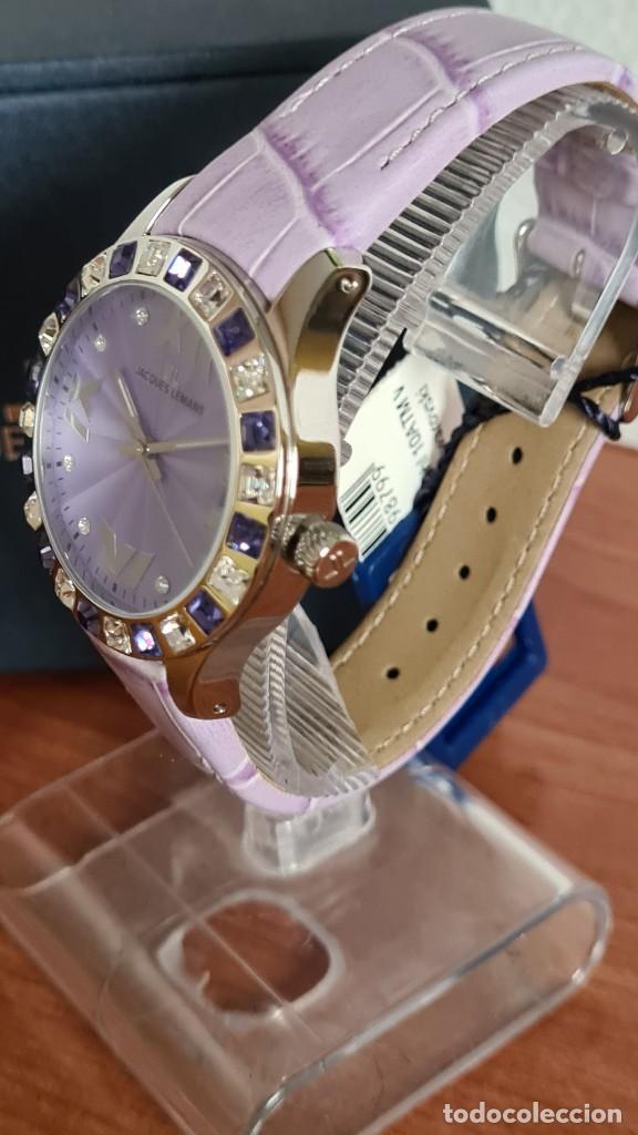 Relojes: Reloj unisex cuarzo JACQUES LEMANS. F1, caja acero con bisel piedras Swarovsky originales correa, - Foto 4 - 244692880