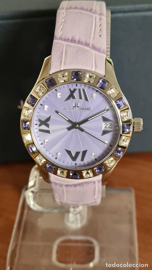 Relojes: Reloj unisex cuarzo JACQUES LEMANS. F1, caja acero con bisel piedras Swarovsky originales correa, - Foto 8 - 244692880