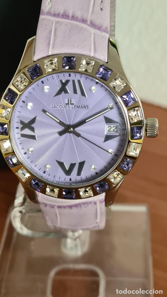 Relojes: Reloj unisex cuarzo JACQUES LEMANS. F1, caja acero con bisel piedras Swarovsky originales correa, - Foto 12 - 244692880
