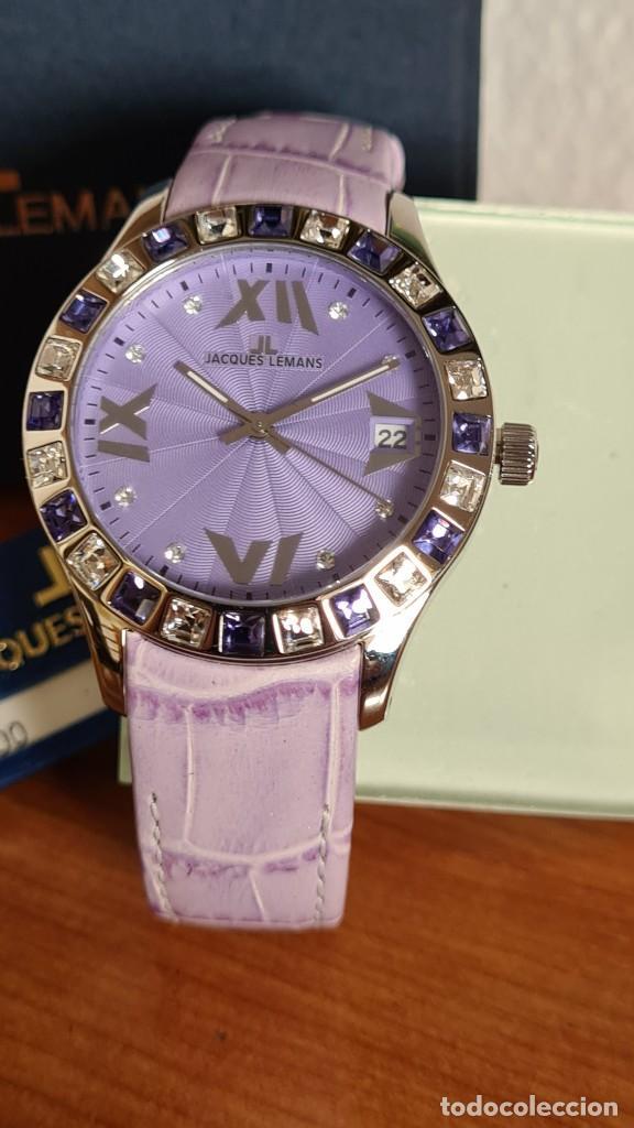 Relojes: Reloj unisex cuarzo JACQUES LEMANS. F1, caja acero con bisel piedras Swarovsky originales correa, - Foto 18 - 244692880