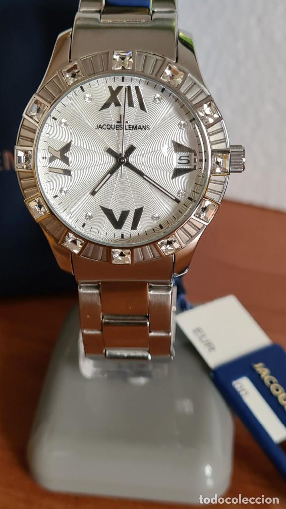 Relojes: Reloj unisex cuarzo JACQUES LEMANS. F1, caja acero con bisel piedras Swarovsky originales correa, - Foto 3 - 244721005