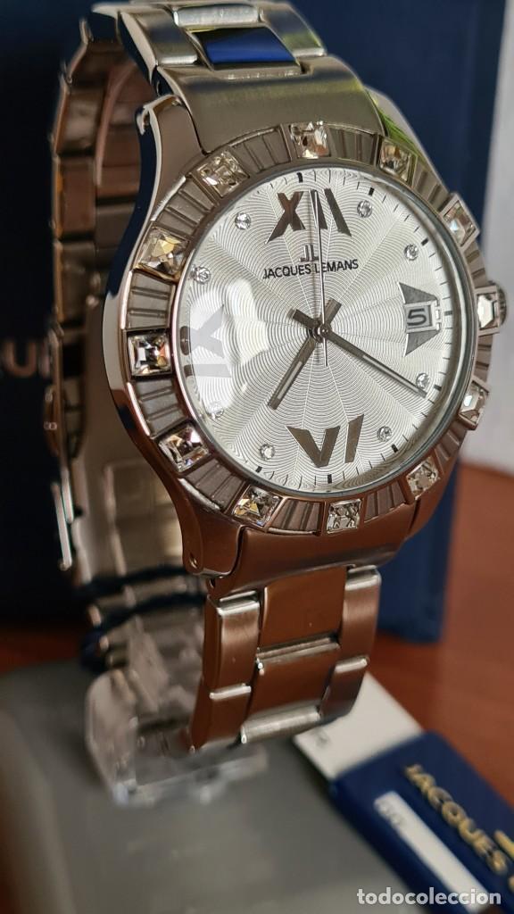 Relojes: Reloj unisex cuarzo JACQUES LEMANS. F1, caja acero con bisel piedras Swarovsky originales correa, - Foto 4 - 244721005