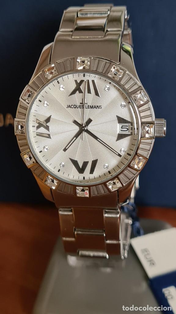 Relojes: Reloj unisex cuarzo JACQUES LEMANS. F1, caja acero con bisel piedras Swarovsky originales correa, - Foto 6 - 244721005