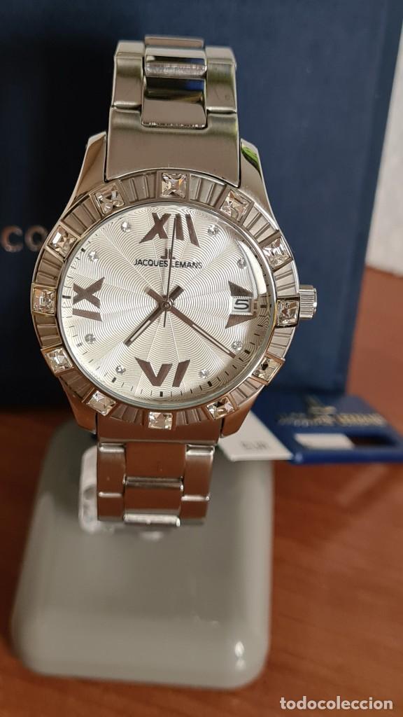 Relojes: Reloj unisex cuarzo JACQUES LEMANS. F1, caja acero con bisel piedras Swarovsky originales correa, - Foto 12 - 244721005