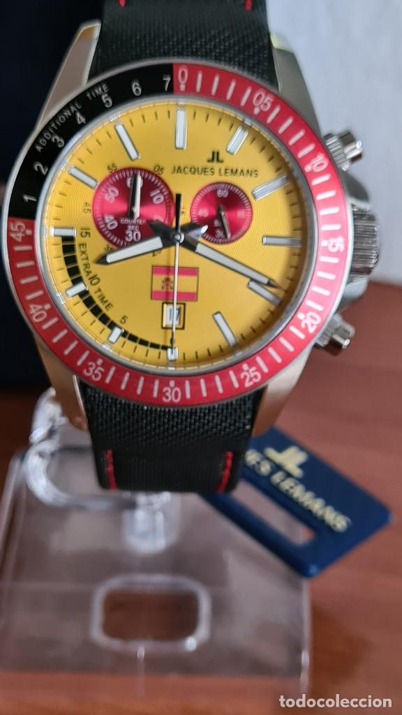 RELOJ CABALLERO CUARZO JACQUES LEMANS. F1. SOCCER 1-1358M, CAJA ACERO, ESFERA AMARILLA, MIRAR FOTOS. (Relojes - Relojes Actuales - Otros)