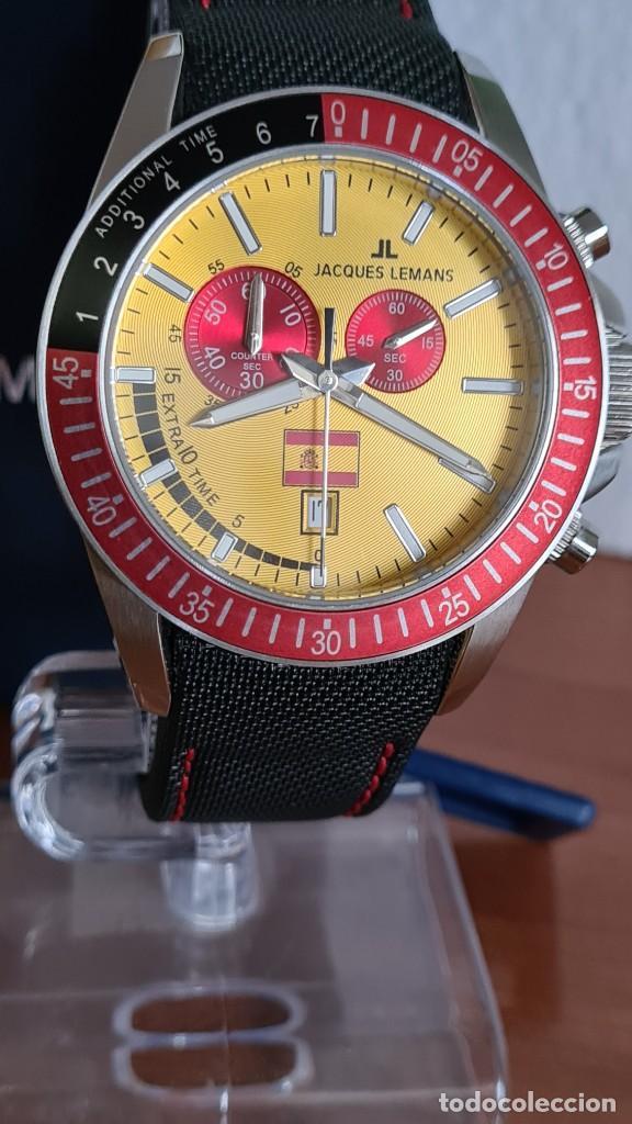 Relojes: Reloj caballero cuarzo JACQUES LEMANS. F1. Soccer 1-1358M, caja acero, esfera amarilla, mirar fotos. - Foto 5 - 244727510