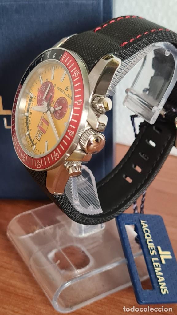 Relojes: Reloj caballero cuarzo JACQUES LEMANS. F1. Soccer 1-1358M, caja acero, esfera amarilla, mirar fotos. - Foto 6 - 244727510