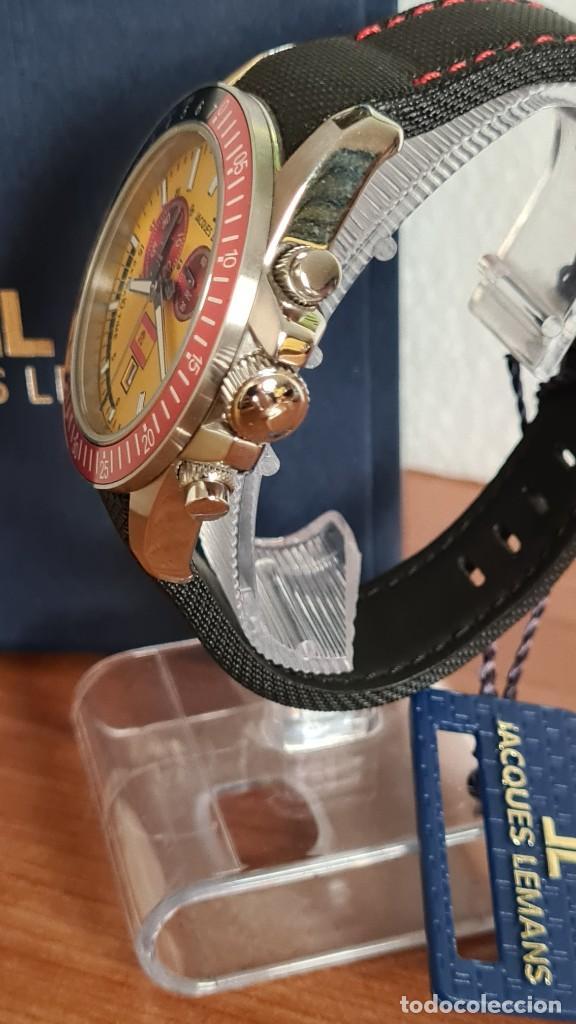 Relojes: Reloj caballero cuarzo JACQUES LEMANS. F1. Soccer 1-1358M, caja acero, esfera amarilla, mirar fotos. - Foto 8 - 244727510