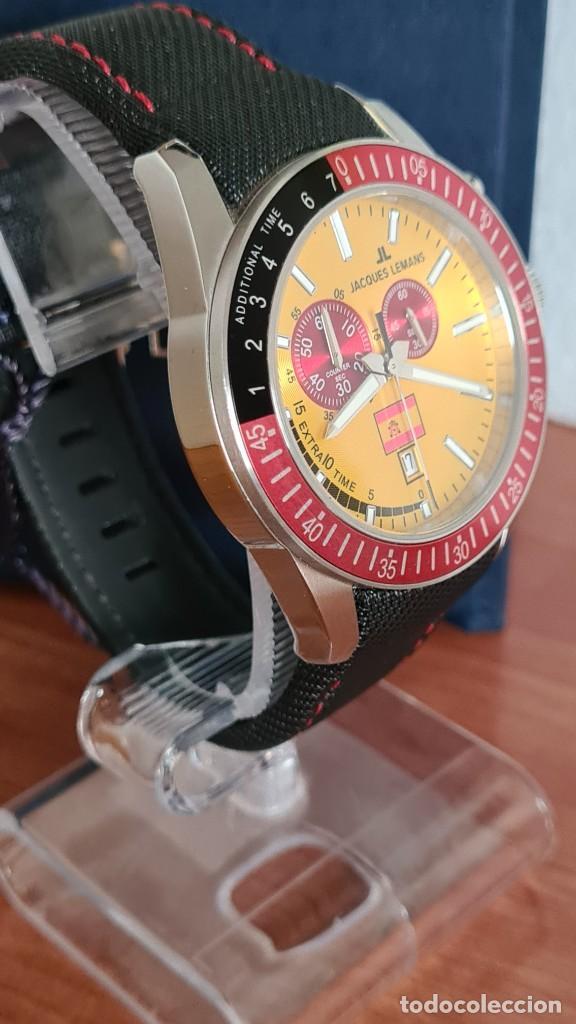 Relojes: Reloj caballero cuarzo JACQUES LEMANS. F1. Soccer 1-1358M, caja acero, esfera amarilla, mirar fotos. - Foto 9 - 244727510