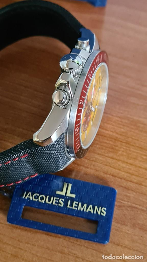 Relojes: Reloj caballero cuarzo JACQUES LEMANS. F1. Soccer 1-1358M, caja acero, esfera amarilla, mirar fotos. - Foto 15 - 244727510