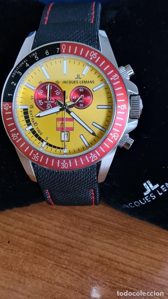Relojes: Reloj caballero cuarzo JACQUES LEMANS. F1. Soccer 1-1358M, caja acero, esfera amarilla, mirar fotos. - Foto 17 - 244727510