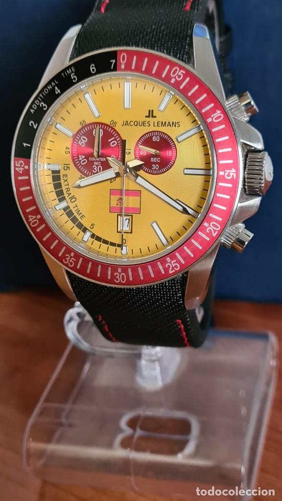 Relojes: Reloj caballero cuarzo JACQUES LEMANS. F1. Soccer 1-1358M, caja acero, esfera amarilla, mirar fotos. - Foto 18 - 244727510
