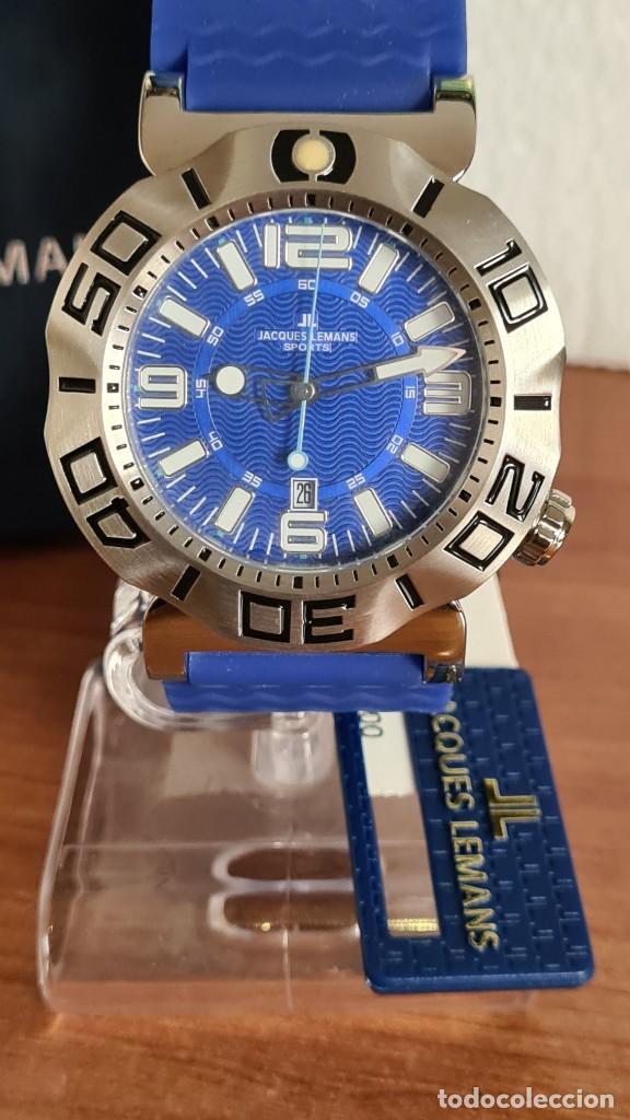 Relojes: Reloj Caballero cuarzo JACQUES LEMANS. F1, caja acero, bisel giratorio, esfera azul, correa silicona - Foto 2 - 244733085