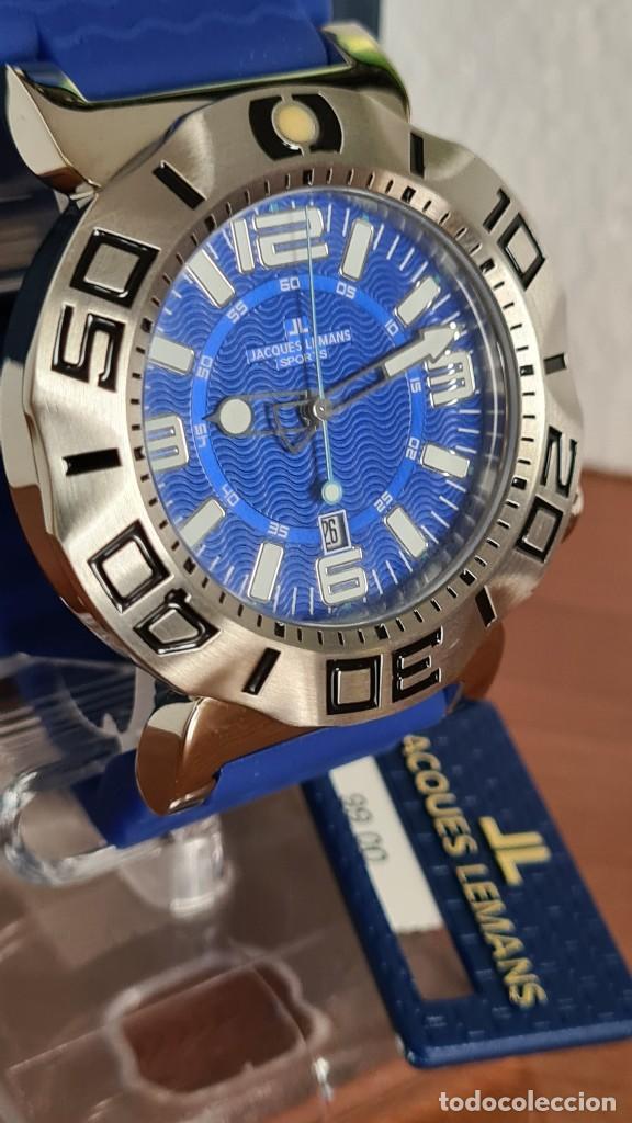 Relojes: Reloj Caballero cuarzo JACQUES LEMANS. F1, caja acero, bisel giratorio, esfera azul, correa silicona - Foto 4 - 244733085