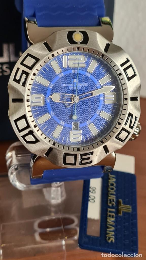 Relojes: Reloj Caballero cuarzo JACQUES LEMANS. F1, caja acero, bisel giratorio, esfera azul, correa silicona - Foto 6 - 244733085