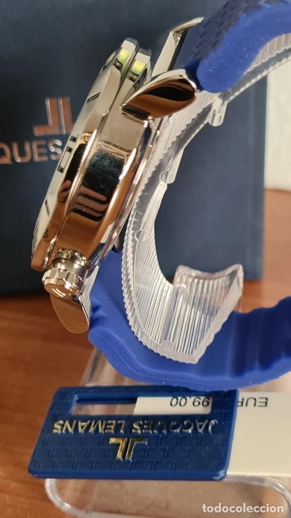 Relojes: Reloj Caballero cuarzo JACQUES LEMANS. F1, caja acero, bisel giratorio, esfera azul, correa silicona - Foto 9 - 244733085