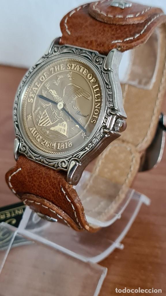 Relojes: Reloj unisex BASSEL de cuarzo acero, esfera una moneda color oro, agujas chapada negras,correa nueva - Foto 2 - 244743835