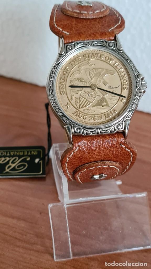 Relojes: Reloj unisex BASSEL de cuarzo acero, esfera una moneda color oro, agujas chapada negras,correa nueva - Foto 3 - 244743835
