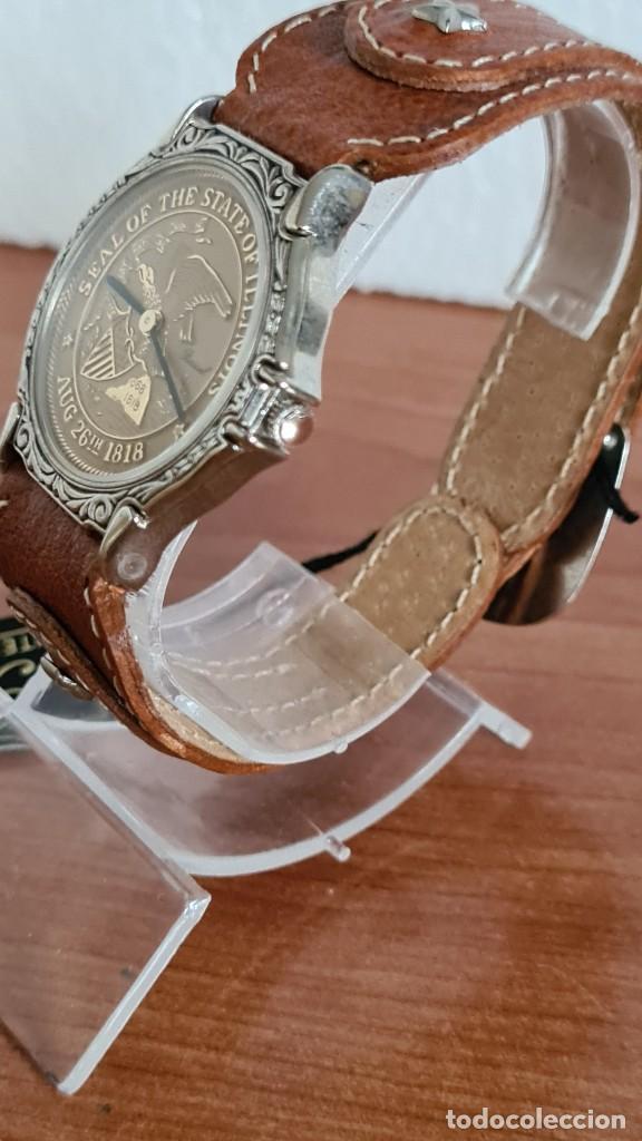 Relojes: Reloj unisex BASSEL de cuarzo acero, esfera una moneda color oro, agujas chapada negras,correa nueva - Foto 4 - 244743835